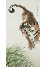 One of a kind original growling tiger Chinese brush painting mounted on a wall scroll.