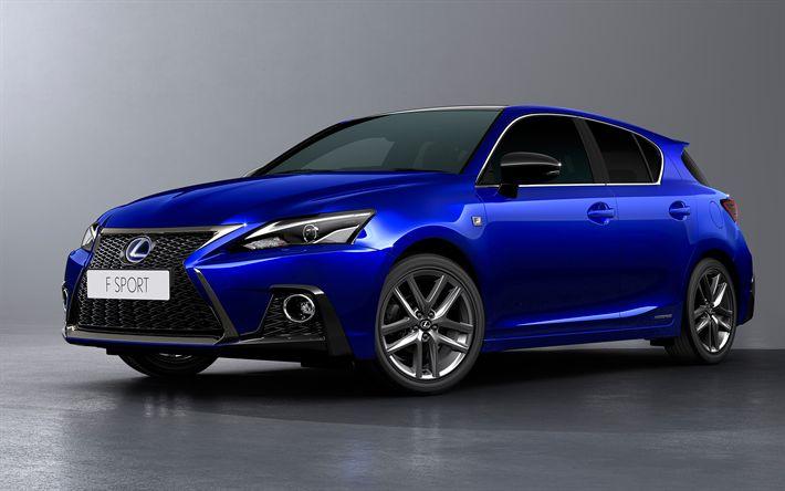 Download wallpapers Lexus CT200h, 2018, facelift, 4k, luxury hatchback, blue new CT200h, Japanese cars, Lexus