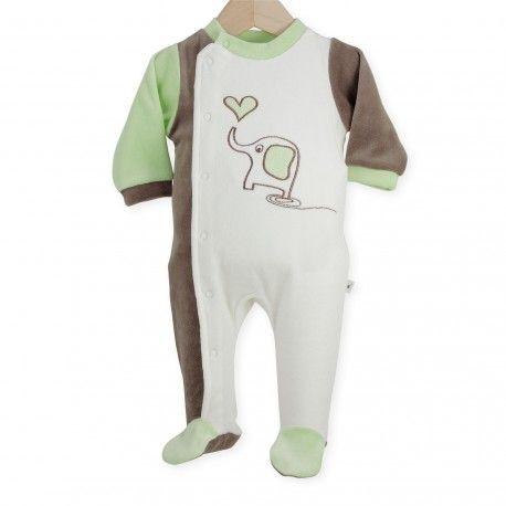 """Pijama """"Elefante y pequeño corazón"""" #pijama #bebe #reciennacido #elefante #corazon #blanco #verde #marron #kinousses"""