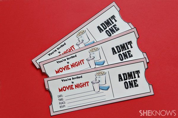 Make your own movie night tickets- you could make a cute wedding invite with this idea