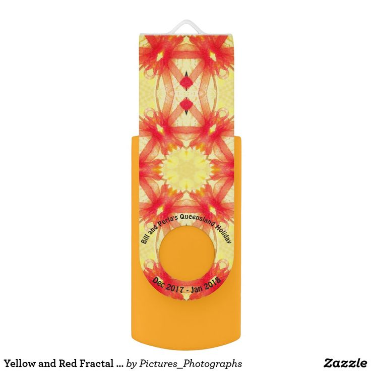 Yellow and Red Fractal Holiday Pattern ~ USB Flash Drive