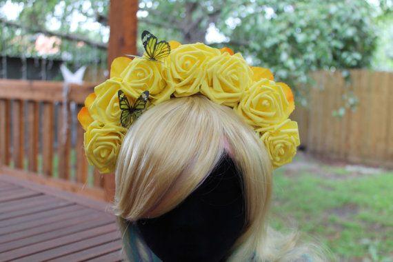 Yellow Flower Crown, Halloween, Burlesque, Day of the Dead, Dia de los Muertos, Festival Headpiece