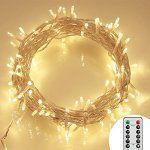 11M 100 LED Guirlandes Lumineuses à Piles Exterieur avec Télécommande & Minuteur (8 Modes de Fonctionnement, Dimmable, Etanche IP65,…