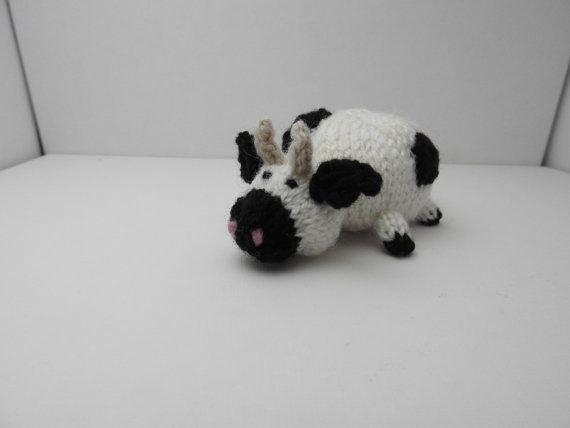 Hand knitted Cow Pin Cushion Critter, Desk Toy #OOAK
