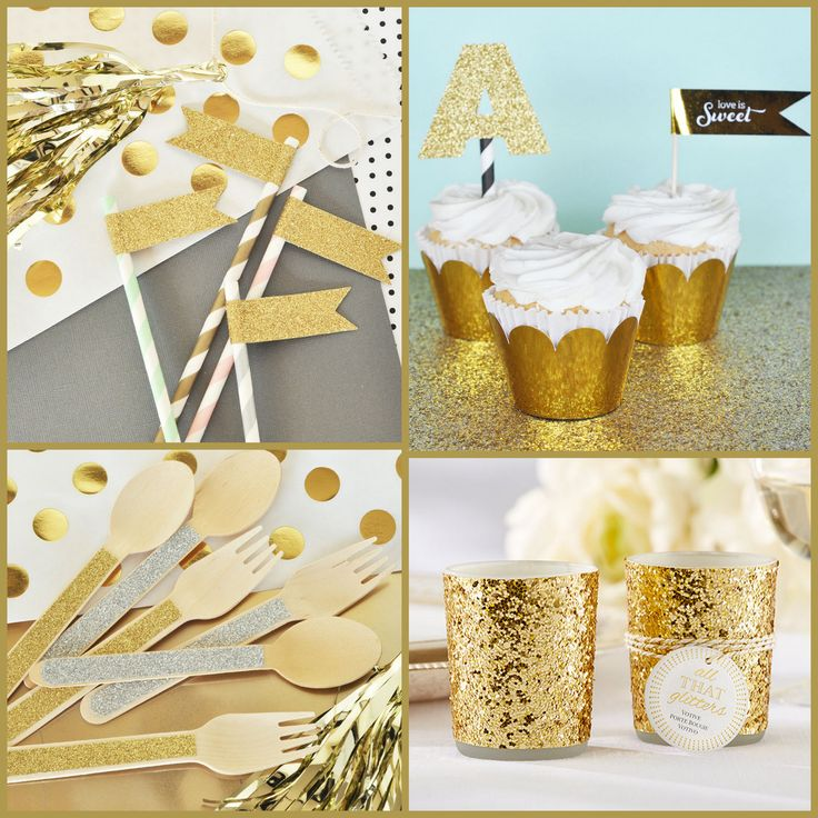 Gold Glitter Party Accessories for 2016 New Year from HotRef.com