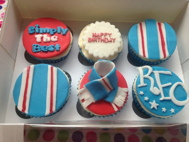 Custom cupcakes for a Rangers FC fans birthday  Cupcakes  Pinterest ...