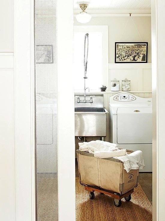 When designing a #laundry room, don't forget to think about efficiency. Create zones for wet and dry items. For instance, install a sink near the washing machine to keep the wet tasks next to one another. Design a folding station and place your clothing rod next to the dryer. That way when your laundry is dry, you don't have to carry clothes to the other side of the room. Everything you need is right in front of you.