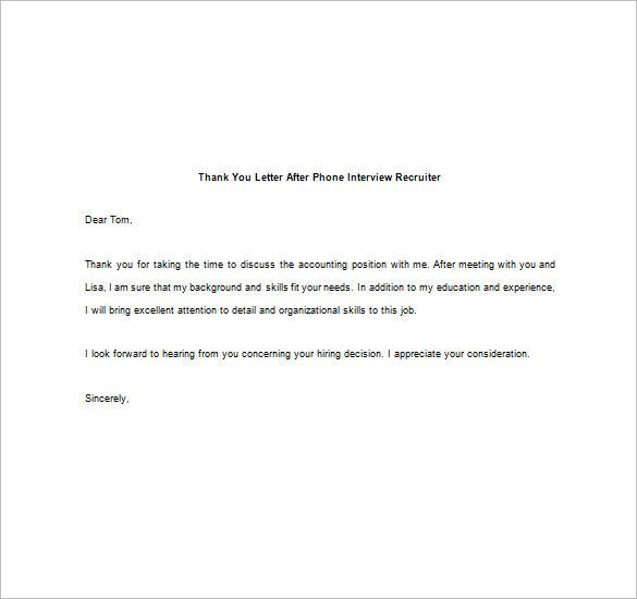 thank you note after phone interview free sample example letter - thank you informational interview