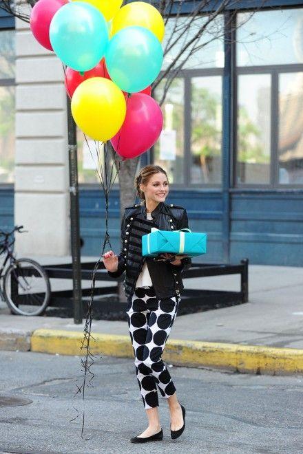 wielkie grochy na spodniach - Olivia Palermo