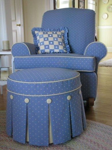 Box pleated ottoman slipcover...you could do a slip cover on the ottoman.
