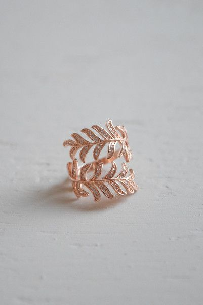 Pave Encrusted Leaf Ring