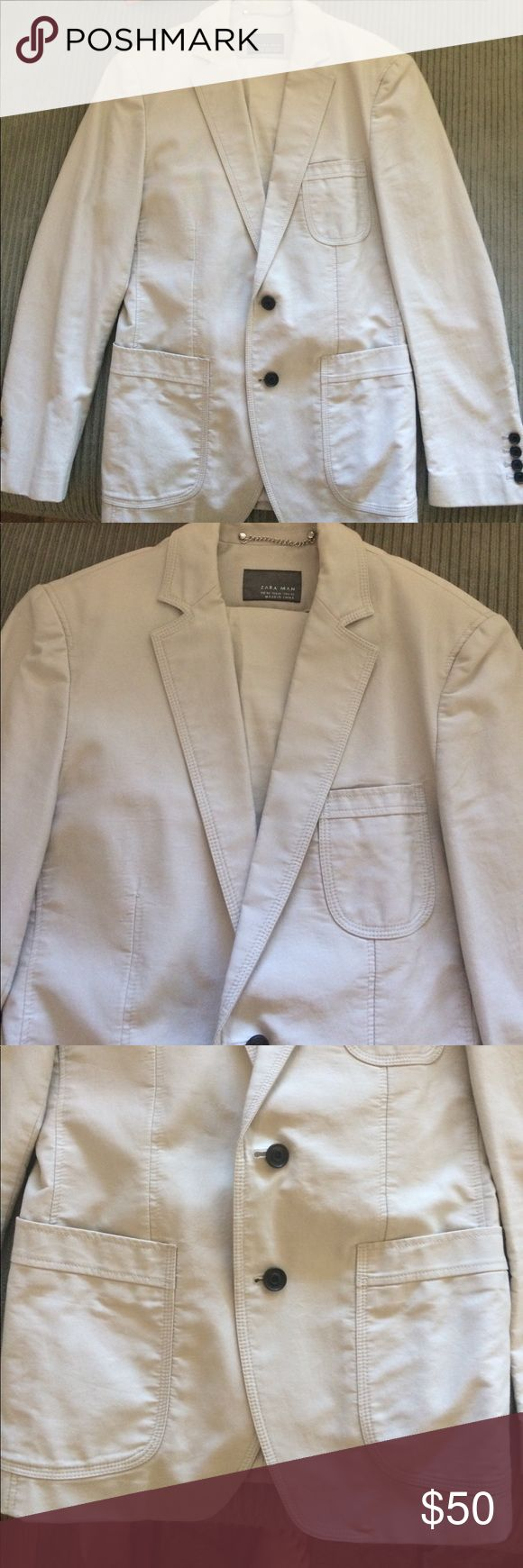 Zara suit Light khaki colored suit. Front pockets. Perfect condition. Pants 30/31. Jacket 36 Zara Suits & Blazers Suits