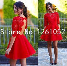 Vente chaude! Enthousiaste rouge Cap manches dos ouvert Tulle a-ligne longues robes de bal avec Applique Custom Made(China (Mainland))