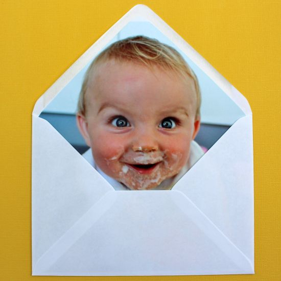 Envelope liners~  love this idea, especially with a goofy pic!