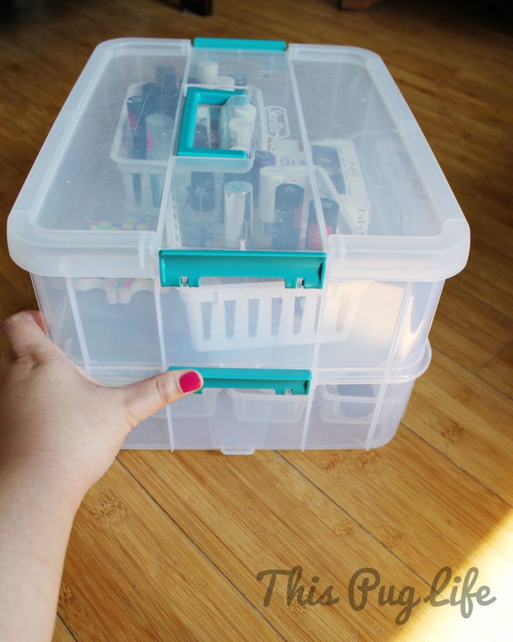 Portable Nail Polish Storage - stackable storage container to keep polish remover & tools separate from nail polish