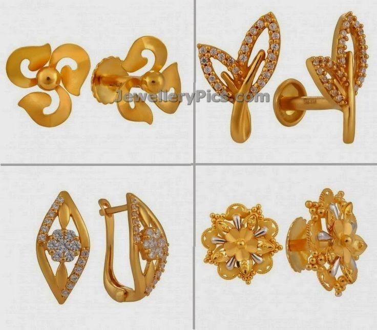 Gold Ear Studs From Joyalukkas Jewellers Jewellery