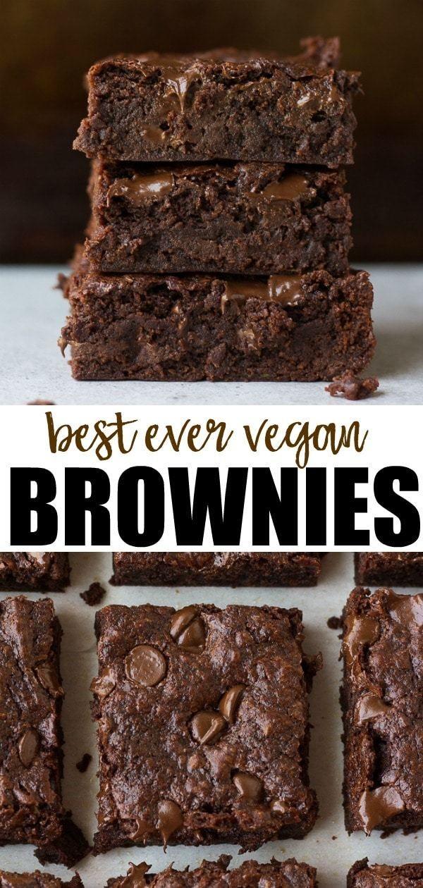 Best Ever Vegan Brownies recipe, no beans or weird ingredients! Easy to make. #noracooks #vegan #cho…