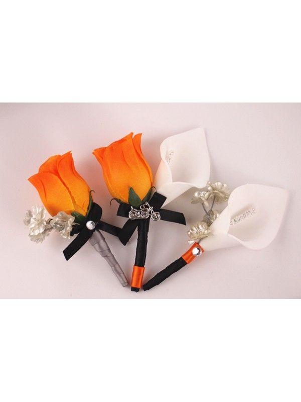 reserved-Harley Wedding Theme-bouquet,centerpieces.Orange-Black-Silver,Feather