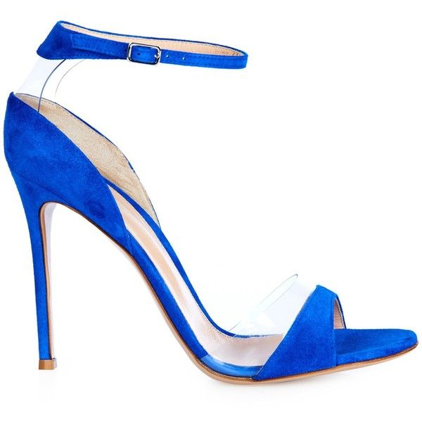 Gianvito Rossi Natalie suede and PVC sandals ($335) ❤ liked on Polyvore featuring shoes, sandals, heels, gianvito rossi, blue, suede, suede shoes, blue sandals, ankle wrap sandals and gianvito rossi shoes