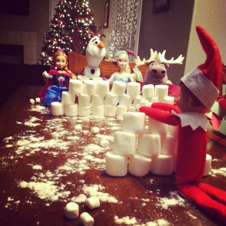 Elf on the Shelf snowball fight with his Disney Frozen friends