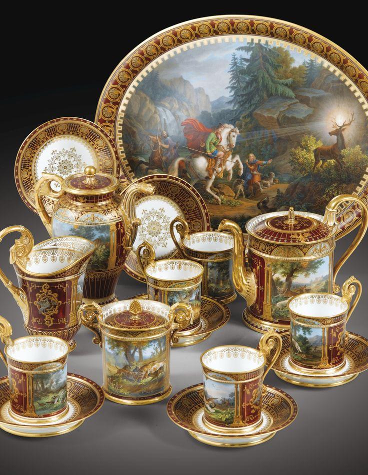Déjeuner royal en porcelaine de Sèvres, daté 1840, nommé Déjeuner des chasses diverses, la peinture par Jean-Charles Develly, livré pour la reine Mare-Amélie (1782-1866)