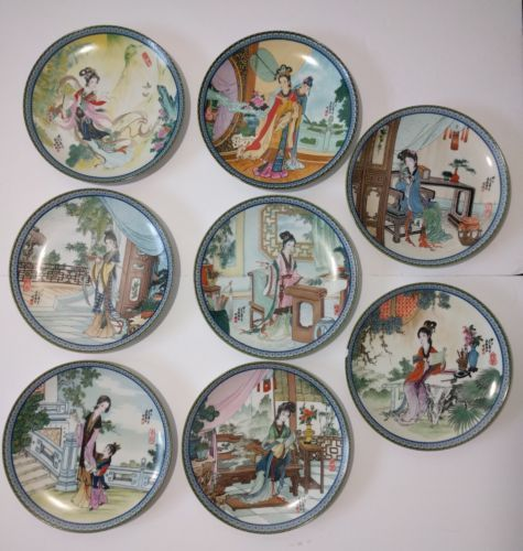 8x Imperial Jingdezhen Beauties Of The Red Mansion Porcelain Plates Set 1985-89