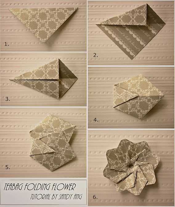 Photo instructions for Teabag Folding Flowers. Requires glue.