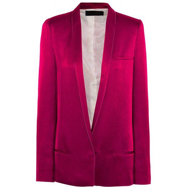 Haider Ackermann Satin blazer (87.265 HUF) via Polyvore featuring outerwear, jackets, blazers, purple satin jacket, haider ackermann, blazer jacket, satin jackets and purple blazer