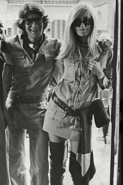 Yves Saint Laurent and Betty Catroux at the opening of his Rive Gauche store on Bond Street, London, Sept1969, by John Minihan/Evening Standard/Getty Images