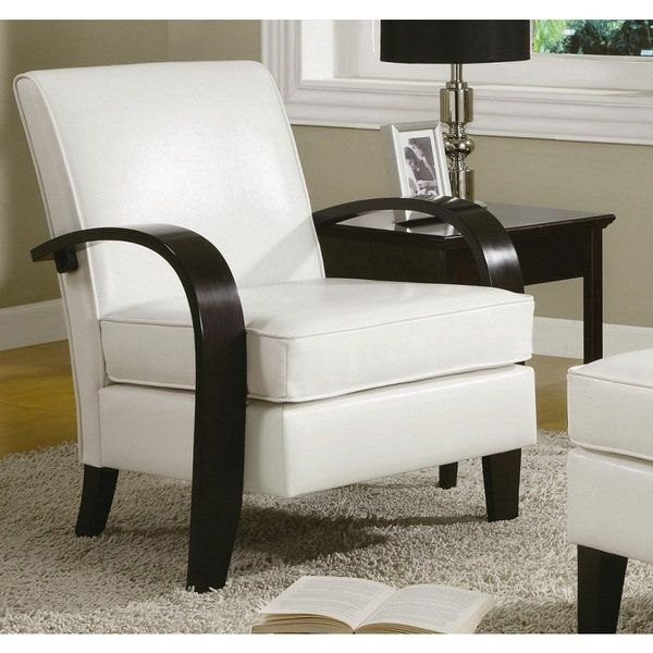 Wonda White Bonded Leather Accent Chair With Wood Arms