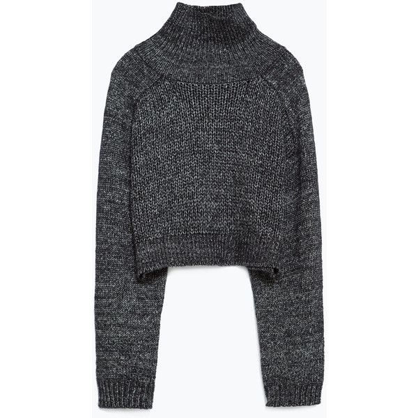 Zara High Neck Sweater (€44) ❤ liked on Polyvore featuring tops, sweaters, navy marl, marled sweater, black marled sweater, zara sweaters, navy blue tops and high neck top