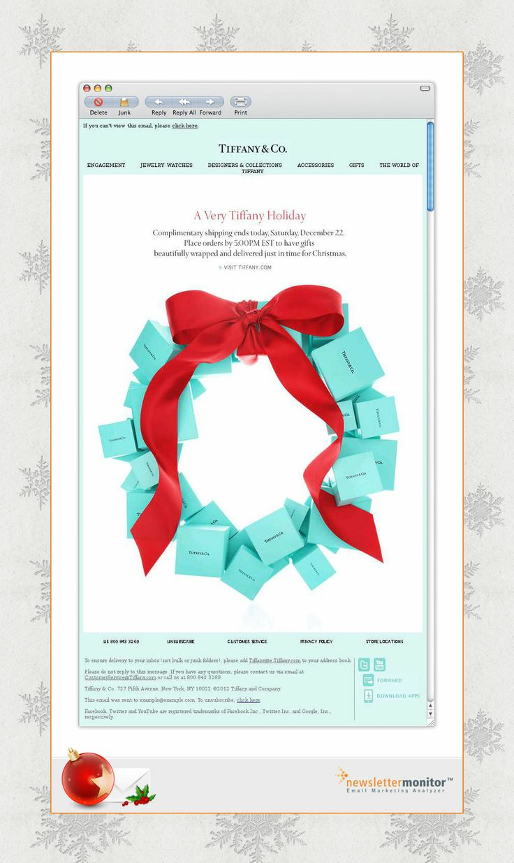 Brand: Tiffany & Co. | Subject: Final Day For Holiday Shipping | Sending Date: December 22, 2012