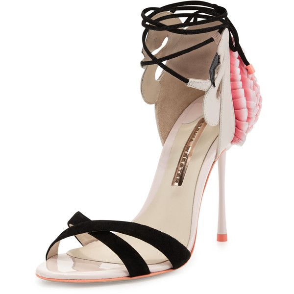 Sophia Webster Flamingo Frill Ankle-Wrap Sandal found on Polyvore featuring shoes, sandals, heels, flowers, heavenly pink, open toe sandals, ankle wrap sandals, strap sandals, pink heel sandals and strap heel sandals