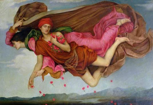 """Notte e sonno, Evelyn De Morgan, 1878, La composizione del dipinto si ispira alla """"Nascita di Venere"""" di Botticelli, dove Zefiro e Clori volano con le membra intrecciate come una duplice entità: il rubicondo Zefiro (che in greco significa vento potente) sbuffa vigorosamente mentre Clori sospira dolcemente il suo alito caldo lasciando cadere rose con l'interno dorato intorno a loro, come vuole la leggenda della nascita di Venere. Nel dipinto di Evelyn De Morgan la Notte fluttua nel cielo…"""