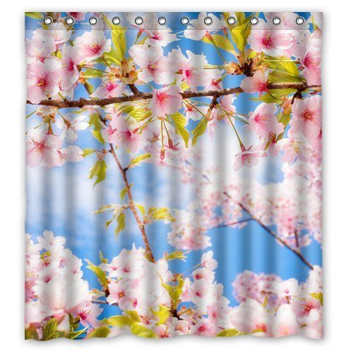 Pretty Cherry Blossom Shower Curtain With A Blue Sky.  #cherrybshowercurtainscglam