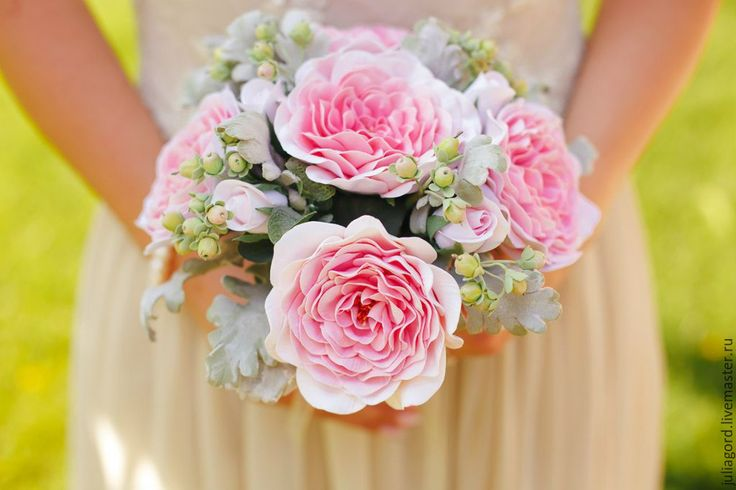 """Букет невесты """"Розовые розы и ягодки"""" - розовый, букет невесты, букет цветов, аксессуары, handmade wedding flower"""