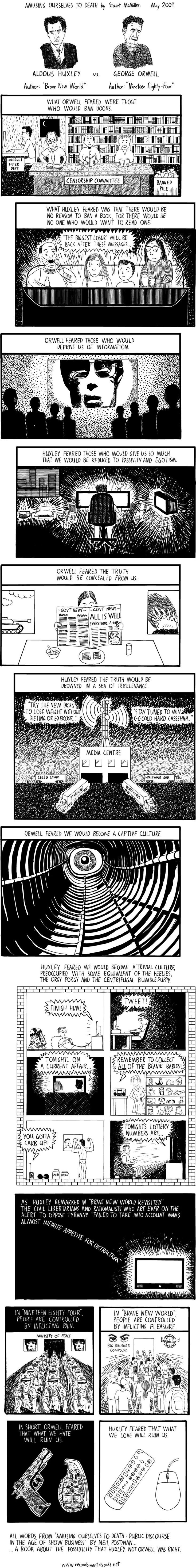 a comparison of aldous huxleys brave new world and george orwells 1984 ~'brave new world~' and george orwell's ~'1984~' and shows how in each aldous huxley they both have to do with very futuristic ideas i noticed that transcript of.