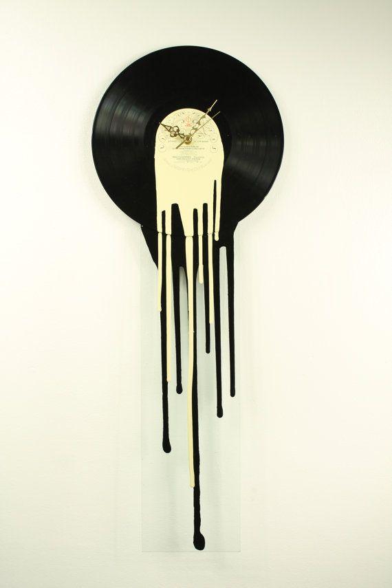 Melting Record Clocks 12 Quot Inch Vinyl Glass Clock Cream