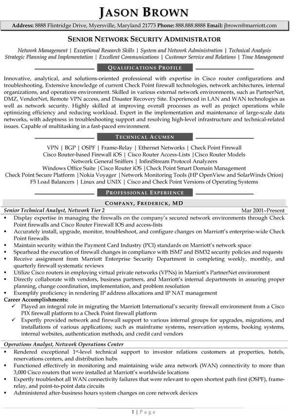 Senior Network Administrator Resume (Sample)