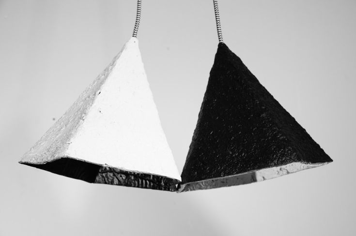 Paper mache lamp geometric - lamp - black and white modern pendant light - chandelier - double hanging lamp - recycled lamp  #RH-DD001 by RoughHandsTheHague on Etsy