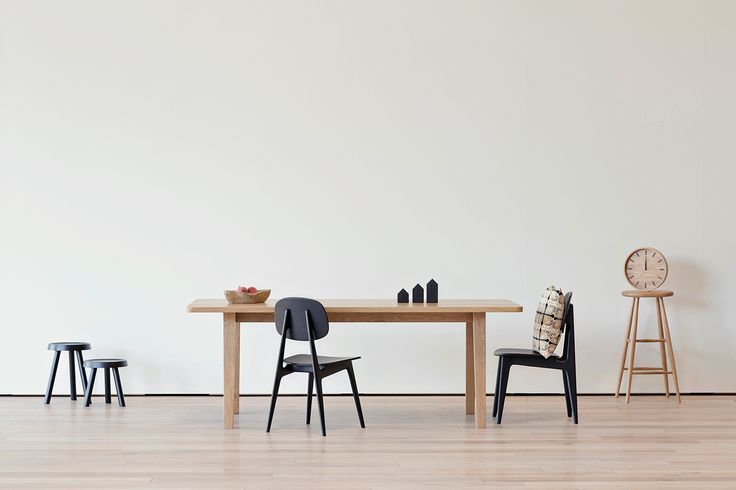 "Featured: Multo Rectangular Dining Table, Bunny Chair, Teak Bowl, Canal Houses, Plato Stool, Roto Stools in small and medium, Outdoor Pillow in Glyphic, 15"" Tick Clock #ilovescandis #scandis #interiordesign #furniture #decor #dining #scandinavian"