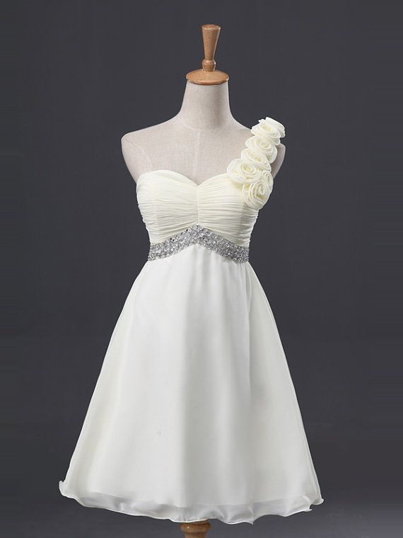 Floral White Beadings A-line One-shoulder Neckline Mini Bridesmaid Dress/Homecoming Dress/Formal Dress/short prom dresses