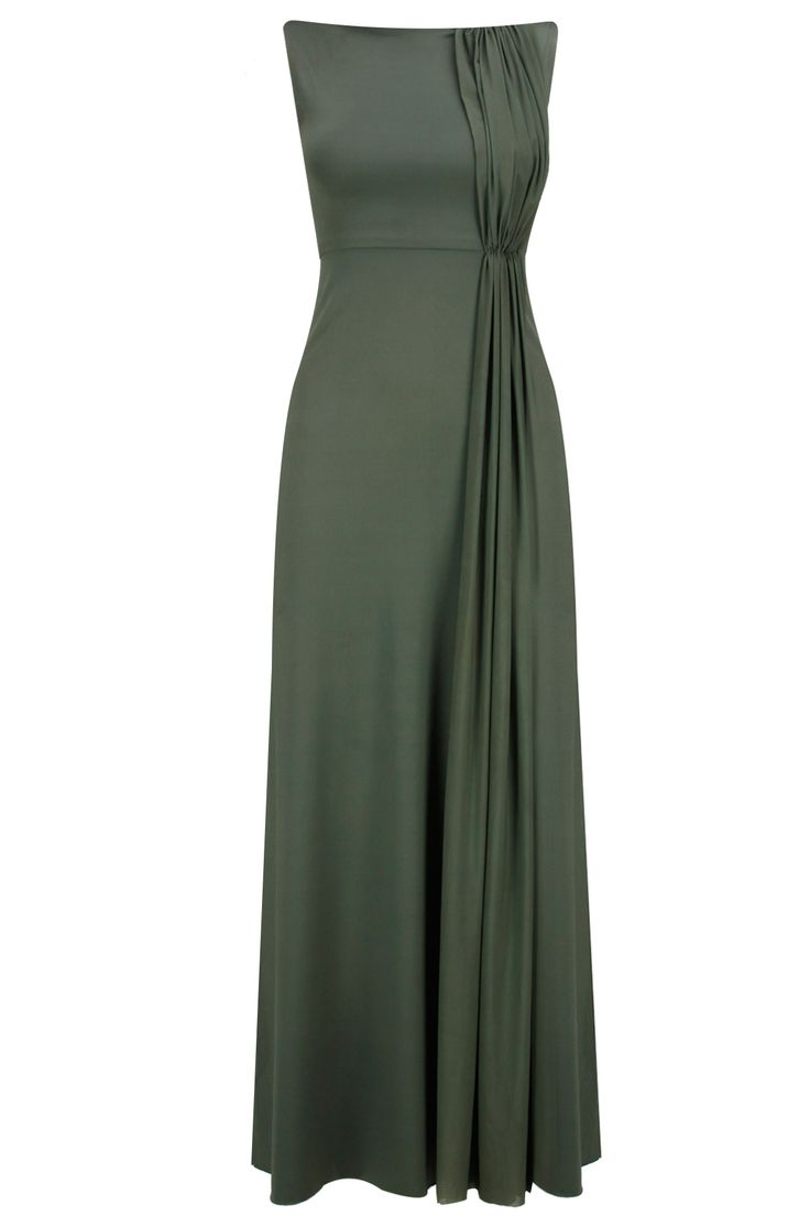 Moss green pleats gown available only at Pernia's Pop-Up Shop.