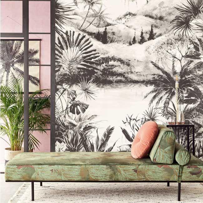 Papier peint tropical noir et blanc, papier peint xxl paysage | Muraem