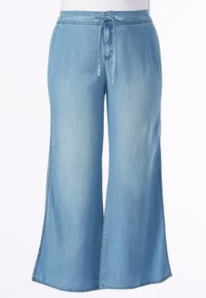 Cato Fashions Slit Wide Leg Chambray Pants-Plus #CatoFashions