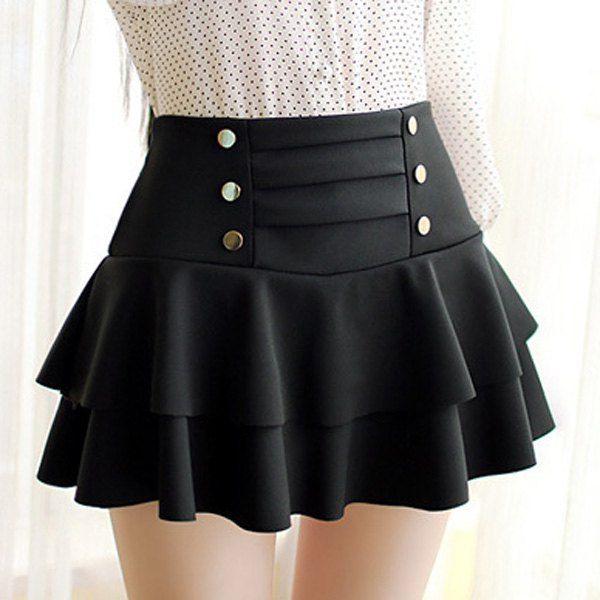 Stylish High-Waisted Multi-Layered Button Design Skirt For Women