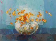 Orange flowers in a vase