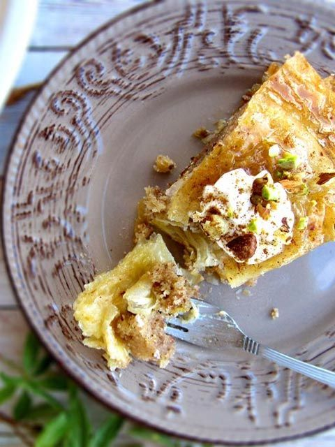 One of the best recipe alterations of the classic Baklava. This one is made as a sponge cake completely soaked in warm honey syrup and coated with crispy phyllo layers. #baklava,#recipe,#Greek,#Cake
