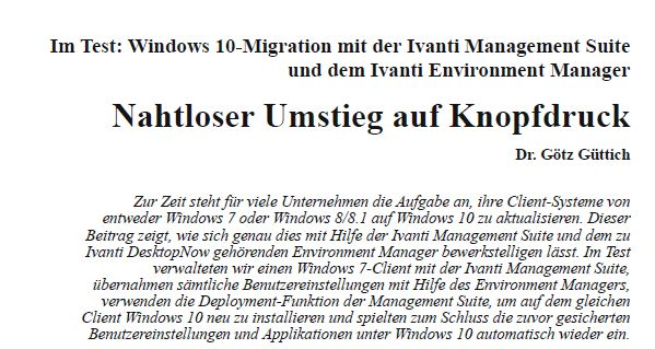 Im Test: Windows 10-Migration mit der Ivanti Management Suite und dem Ivanti Environment Manager