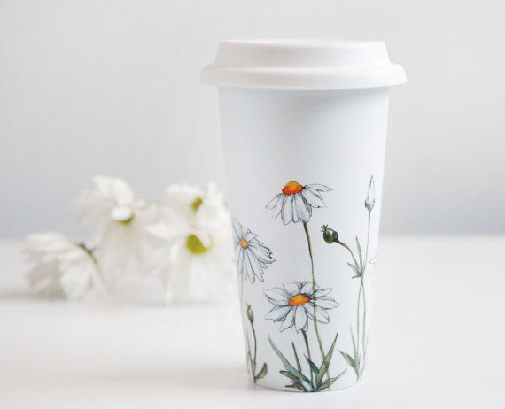 Hand Painted White Ceramic Travel Mug Double Walled Porcelain with Lid - Daisies, Botanical Collection